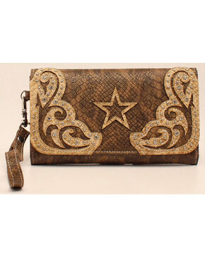 Blazin Roxx Snake Skin Star Clutch Wallet, Brown, hi-res