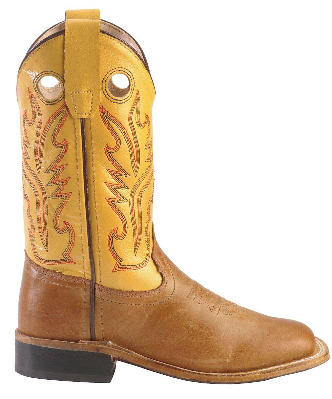 Old West Boys' Tan Canyon Cowboy Boots - Square Toe, Tan, hi-res