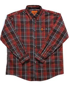 Wrangler Men's Flame-Resistant Plaid Shirt , Chilli, hi-res