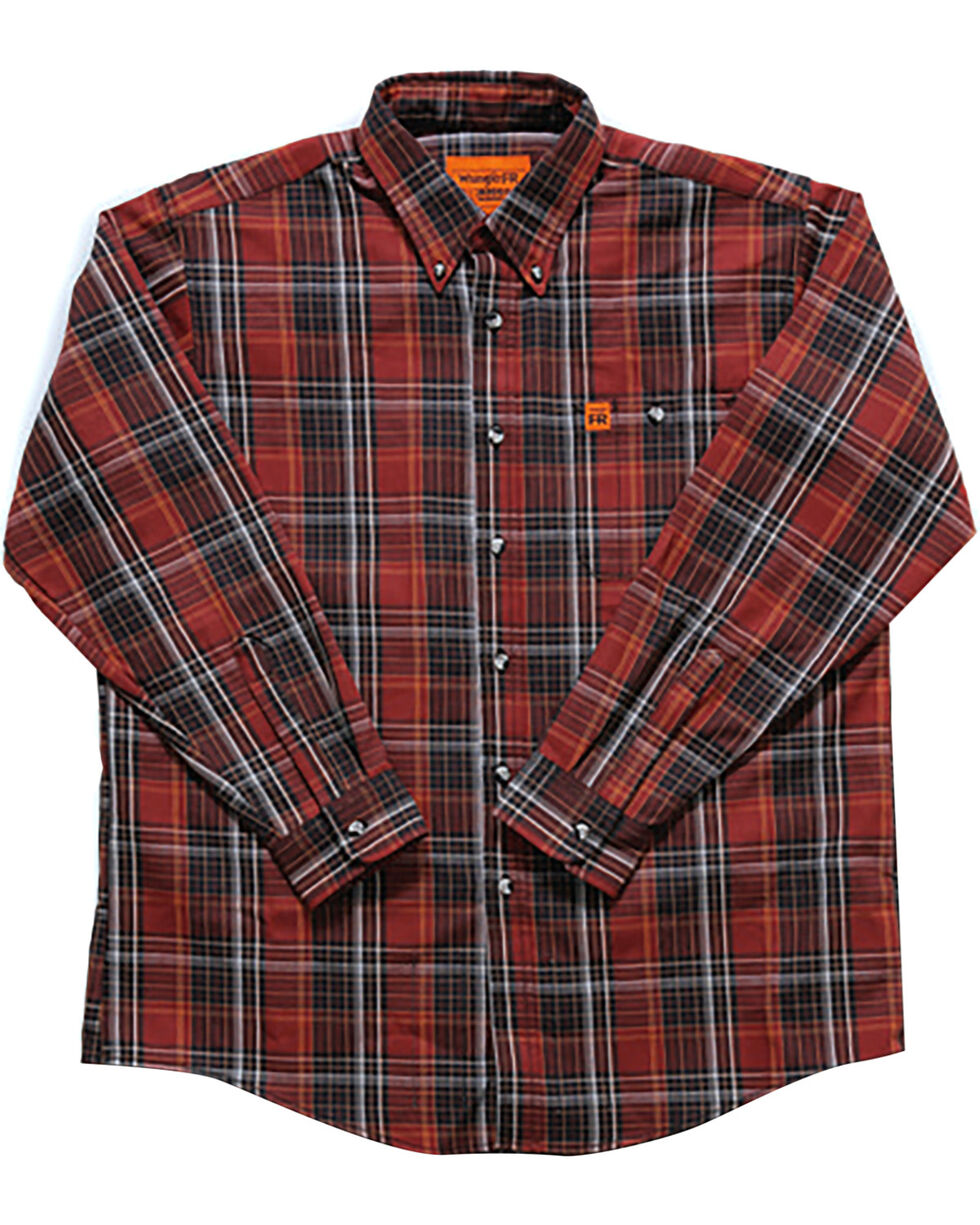 Wrangler Men's Flame-Resistant Plaid Shirt , Chilli, hi-res
