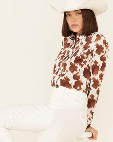Roper Women's Cowhide Print Long Sleeve Snap Western Shirt, Brown, hi-res