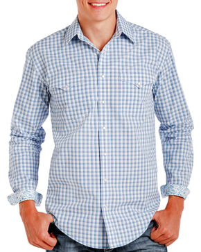Rough Stock Men's Blue Checkered Pattern Long Sleeve Shirt , Blue, hi-res