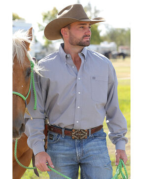 Cinch Men's Grey Long Sleeve Western Shirt , Grey, hi-res