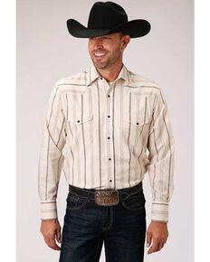 Roper Men's Classic Cream Aztec Striped Long Sleeve Western Shirt , White, hi-res