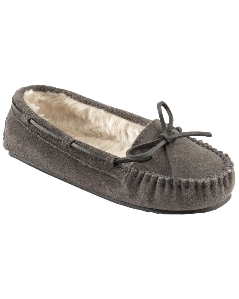 Minnetonka Cally Lined Slipper Moccasins, Grey, hi-res