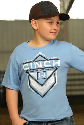 Cinch Boy's Blue Cinch Logo Print T-Shirt, Blue, hi-res