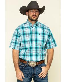 Cinch Men's Blue Large Plaid Short Sleeve Western Shirt , Blue, hi-res