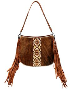 Trinity Ranch Women's Hair-On Aztec Crossbody Bag, Coffee, hi-res