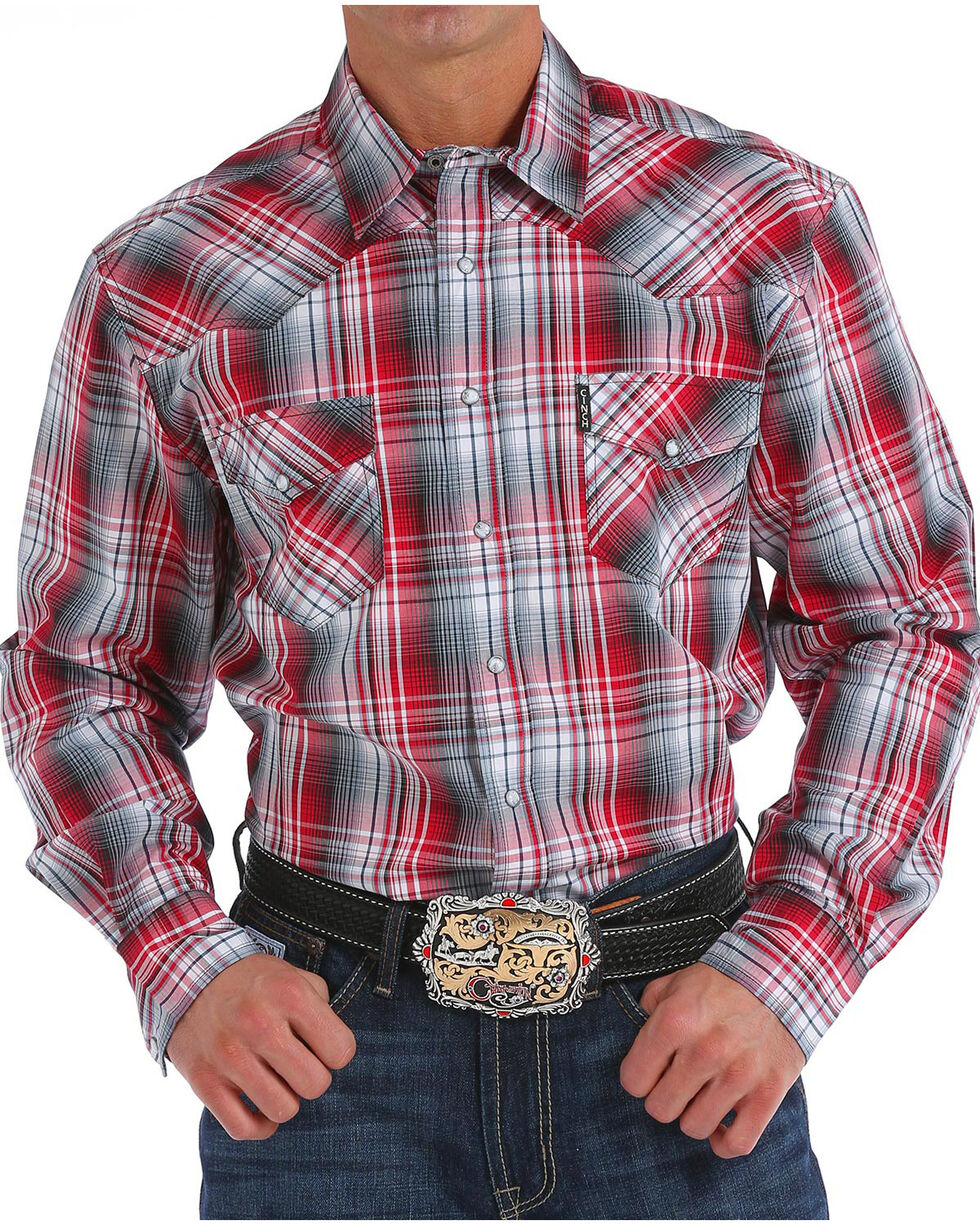 Cinch Men's Modern Fit Plaid Long Sleeve Western Shirt, Purple, hi-res