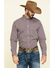Ariat Men's Illton Aztec Geo Print Long Sleeve Western Shirt - Tall , White, hi-res