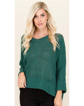 Polagram Women's 3/4 Sleeve Scoop Neck Sweater , Teal, hi-res