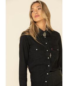 Levi's Women's Ultimate Denim Long Sleeve Western Shirt , Black, hi-res