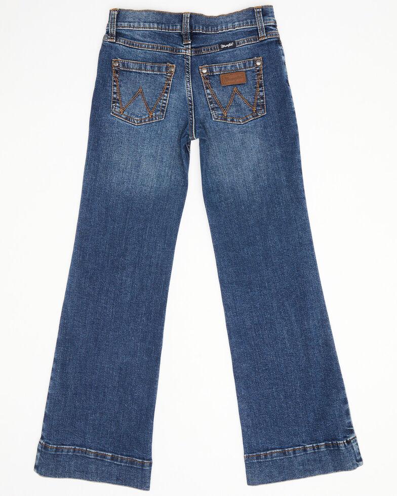 Wrangler Girls' Dark Wash Darci Trousers , Blue, hi-res