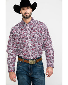 Cinch Men's White Floral Paisley Print Long Sleeve Western Shirt , White, hi-res