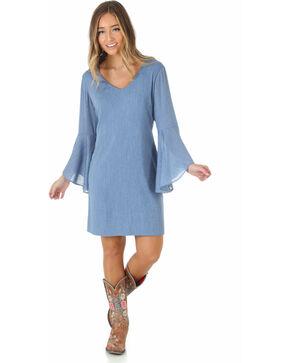 Wrangler Women's Flutter Sleeve Dress, Blue, hi-res