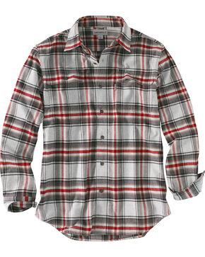 Carhartt Men's Hubbard Long Sleeve Plaid Shirt , Grey, hi-res