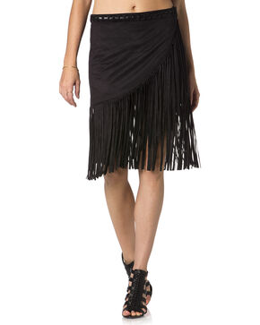 Miss Me Wrap-Around Black Fringe Skirt , Black, hi-res