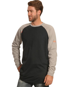 Ariat Men's FR Long Sleeve Baseball T-Shirt , Grey, hi-res