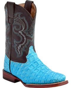 Ferrini Girls' Croc Print Western Boots - Square Toe, Turquoise, hi-res