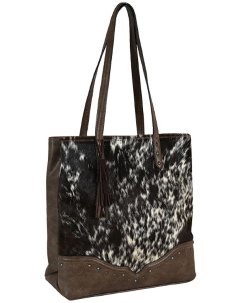 Tony Lama Women's Cowhide Tote Bag, Black, hi-res