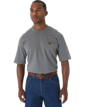 Wrangler Men's Riggs Short Sleeve Pocket T-Shirt - Big & Tall, Charcoal Grey, hi-res