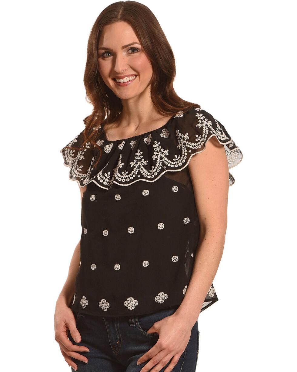 Derek Heart Women's Black Off The Shoulder Embroidered Top , Black, hi-res
