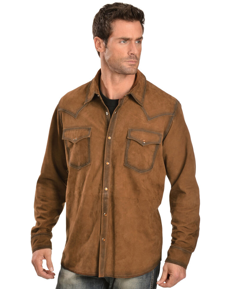 Scully Suede Leather Western Shirt, Brown, hi-res