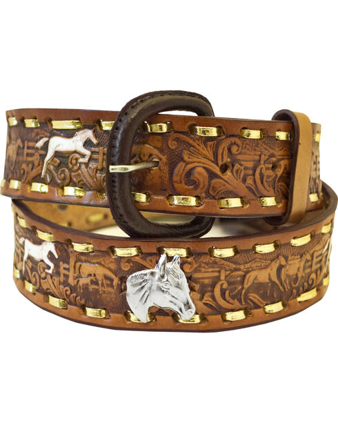 Western Express Men's Brown Leather Running Horses Belt , Brown, hi-res