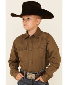 Cody James Boys' Solid Olive Cornerstone Long Sleeve Snap Western Shirt , Olive, hi-res