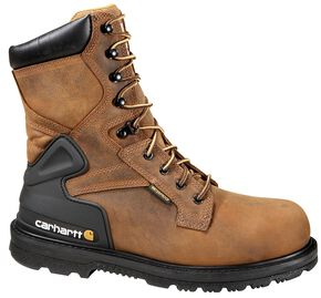 "Carhartt Men's 8"" Bison Waterproof Work Boots - Safety Toe, Bison, hi-res"