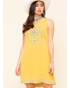 Wrangler Women's High Neck Mustard Embroidered Shift Dress, Dark Yellow, hi-res