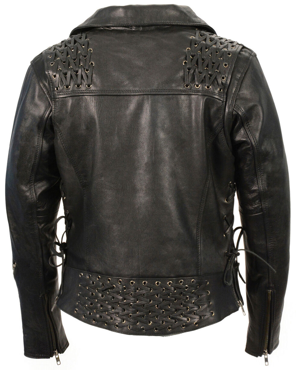 Milwaukee Leather Women's Lightweight Lace To Lace Motorcycle Jacket, Black, hi-res