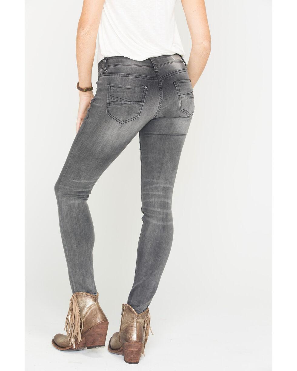 Grace in LA Women's Black Moto Skinny Jeans , Black, hi-res