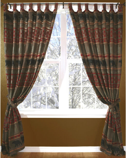 Carstens Bear Country Curtains, Red, hi-res