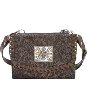 American West Women's Two Step Small Crossbody Bag , Distressed Brown, hi-res