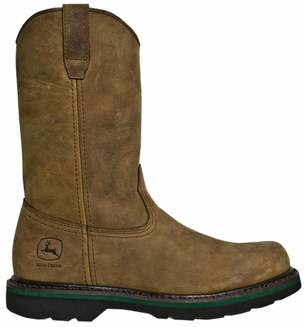 John Deere Men's Leather Pull-On Work Boots - Round Toe, Crazyhorse, hi-res