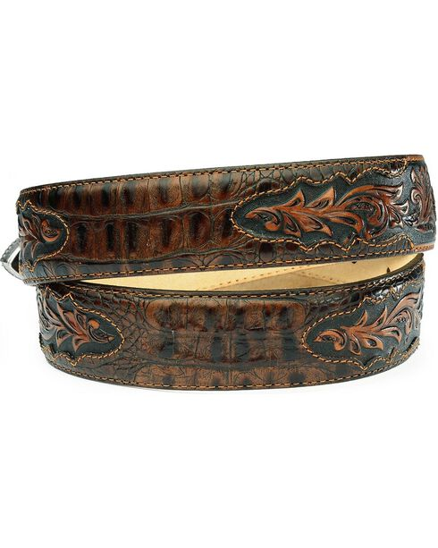 Tony Lama Beaumont Tapered Croc Print Leather Belt, Chocolate, hi-res