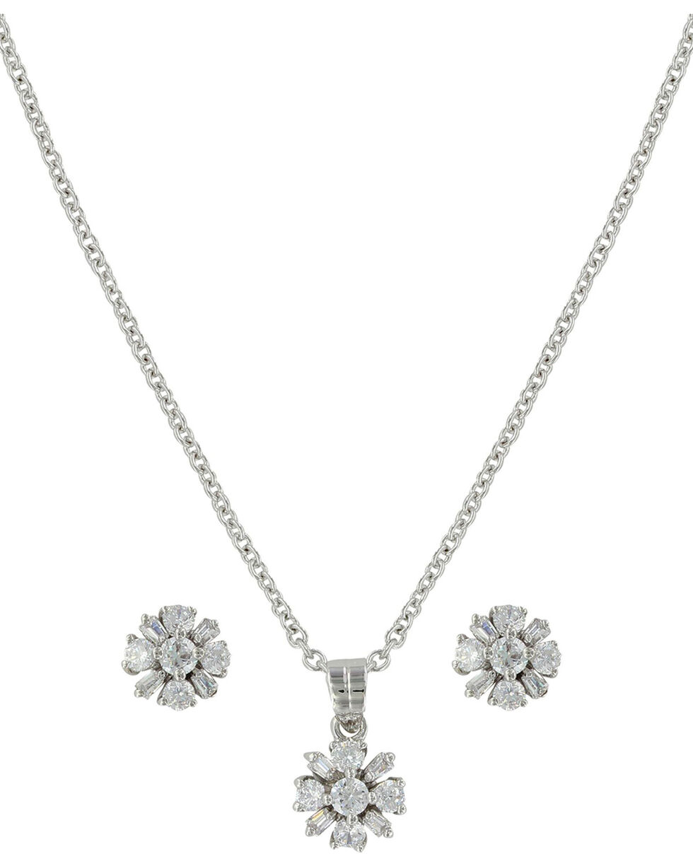 Montana Silversmiths Women's Simply Brilliant Flower Jewelry Set , Silver, hi-res
