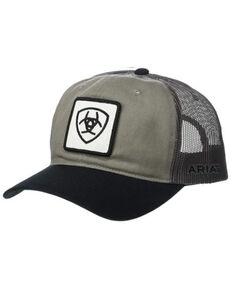 Ariat Men's Burnt Grey Shield Logo Patch Mesh-Back Ball Cap , Grey, hi-res