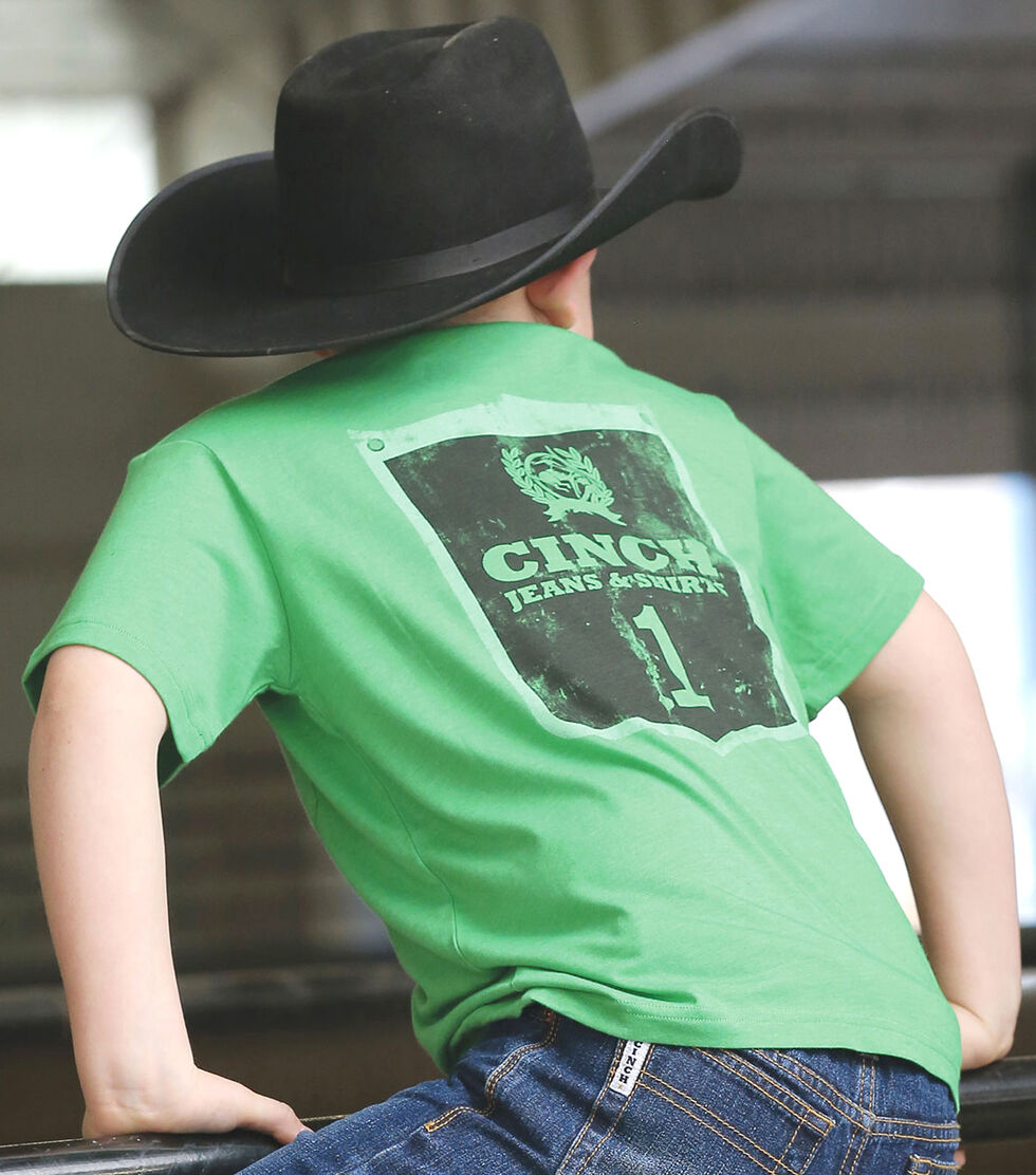 Cinch Boy's Green Graphic Print Short Sleeve T-Shirt, Green, hi-res
