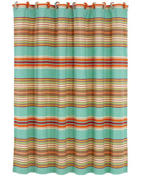 HiEnd Accents Turquoise Serape Shower Curtain , Turquoise, hi-res