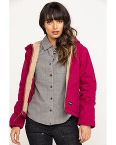 Berne Women's Pomegranate Washed Fine Sherpa Lined Hooded Coat - Tall, Red, hi-res