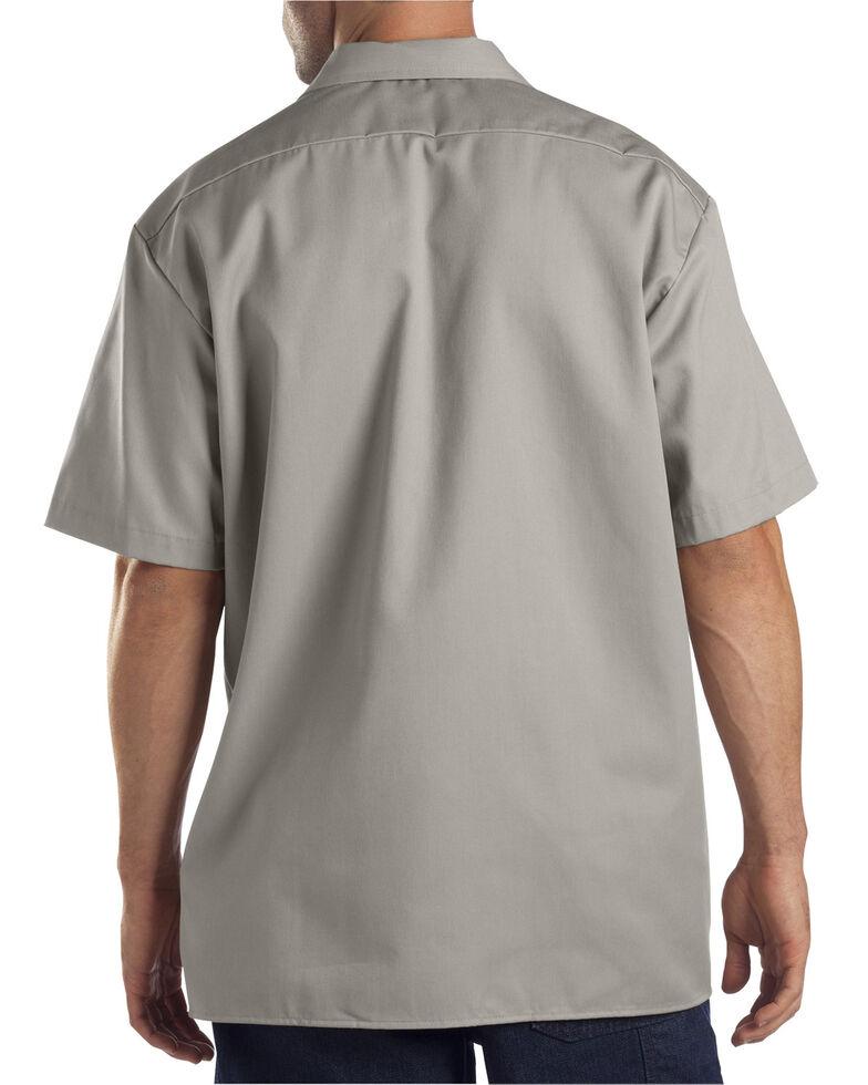Dickies Men's Solid Short Sleeve Folded Work Shirt, Silver, hi-res