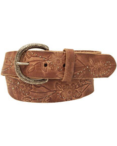 Roper Women's Brown Floral Design Leather Belt, Brown, hi-res