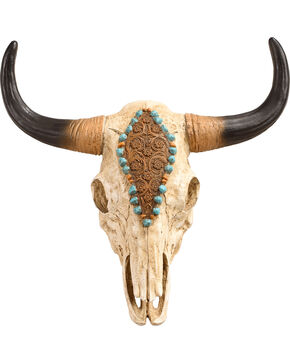 BB Ranch Painted Cow Skull Wall Decor, No Color, hi-res