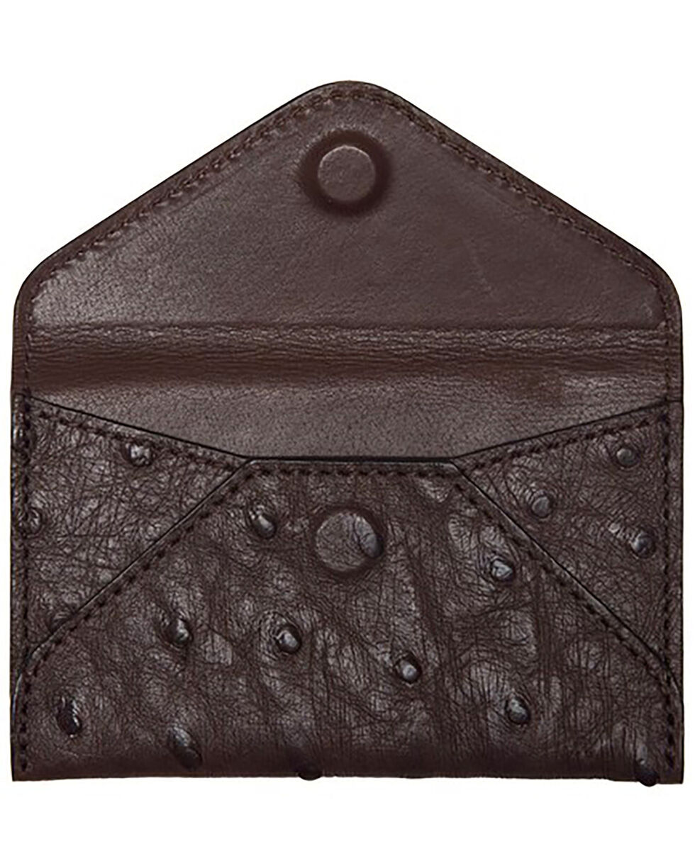 Lucchese Men's Sienna Ostrich Business Card Case, Brown, hi-res