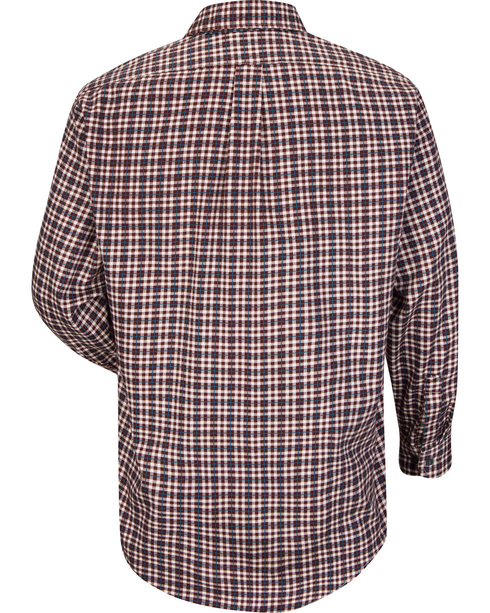 Bulwark Men's Burgundy Plaid Flame Resistant Uniform Shirt - Big & Tall , Burgundy, hi-res