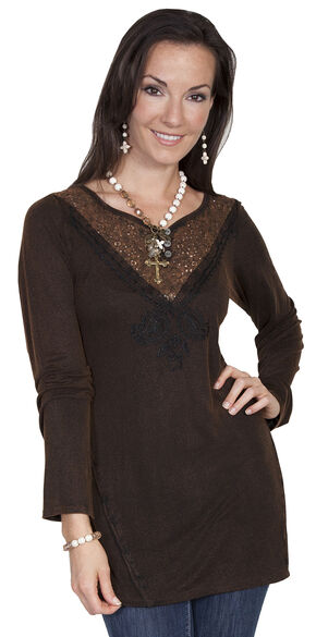 Scully Women's Embellished Lace Tunic, Rust, hi-res