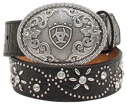 Ariat Girls Swirl Studded Croc Print Belt, Black, hi-res