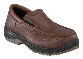 Florsheim Men's Ace Composite Toe Slip-On Shoes, Brown, hi-res